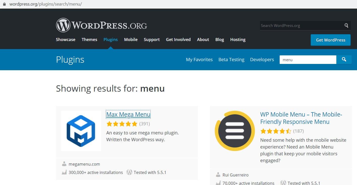 wordpress.org menu plugins