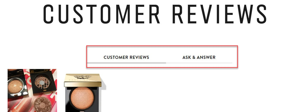 Tabs on the BobbyBrown cosmetics website