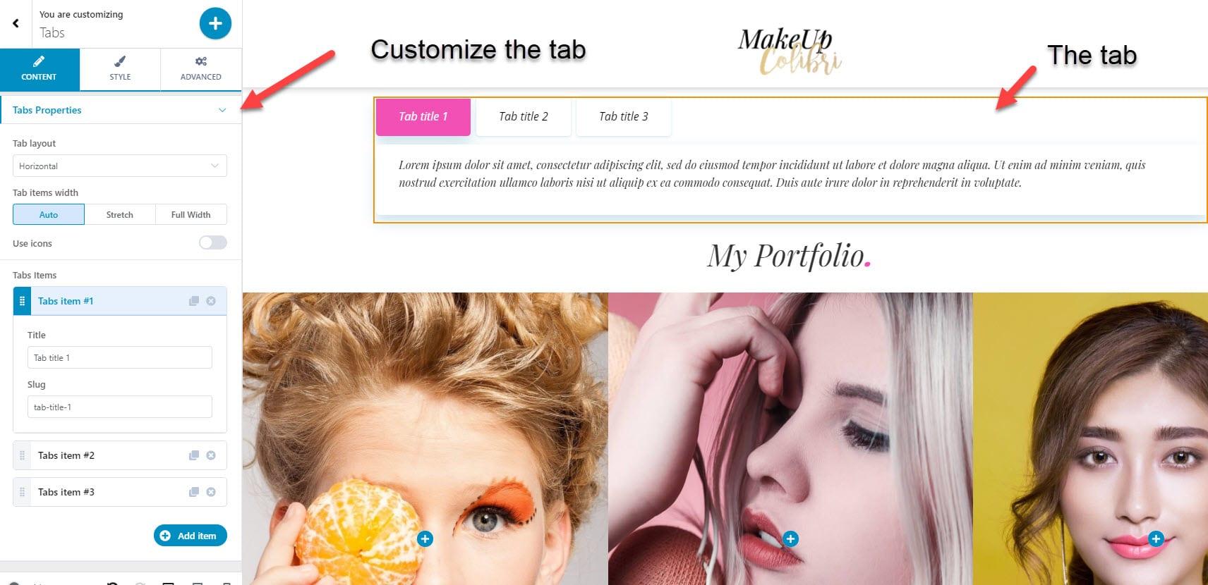 Customize the WordPress tab