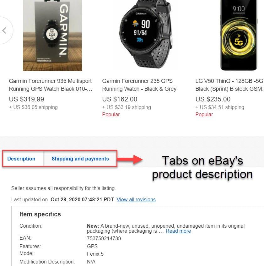 eBay is using tabs