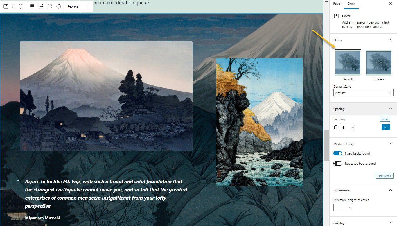 Paste the WordPress gallery pattern