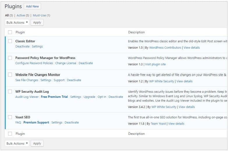 Activer les plugins WordPress