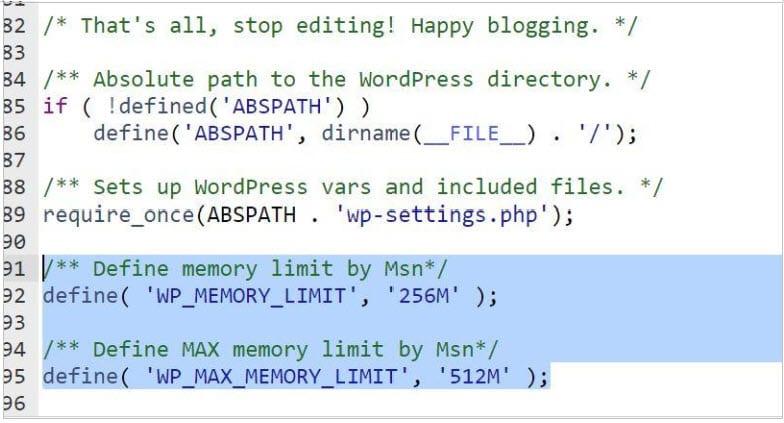 define( 'WP_MEMORY_LIMIT', '256M' );