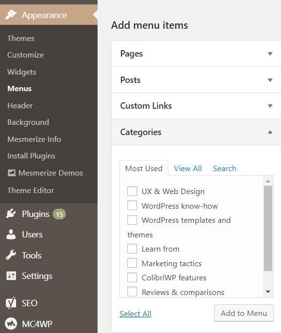 Add WordPress categories to a menu