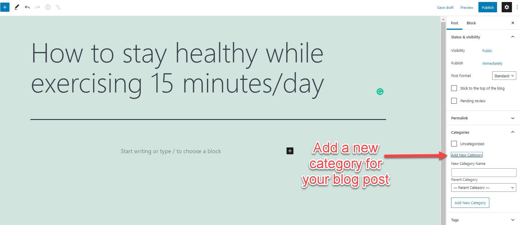 Add WordPress category to blog post