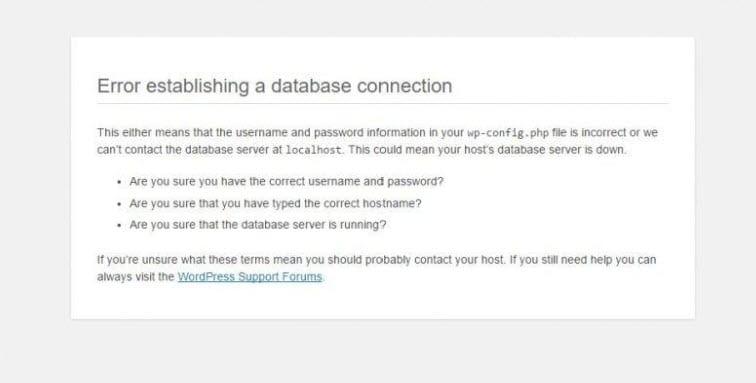 Erreur lors de l'établissement d'une connexion à la base de données dans WordPress