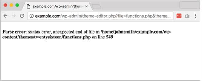 WordPress Parse or Syntax Error