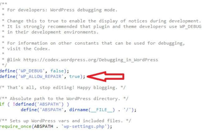 Réparation WordPress