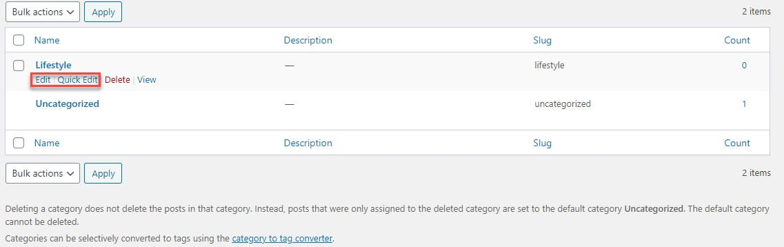 edit a WordPress category