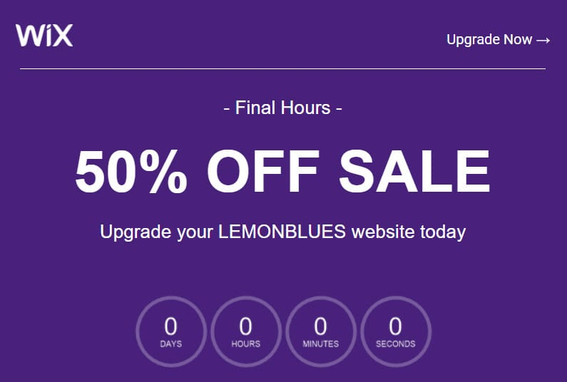 wix email countdown timer