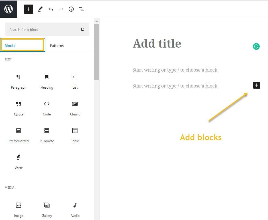 Add blocks in Gutenberg