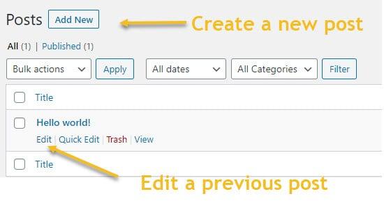 Create and edit WordPress blog posts