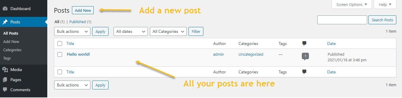 Creating WordPress posts