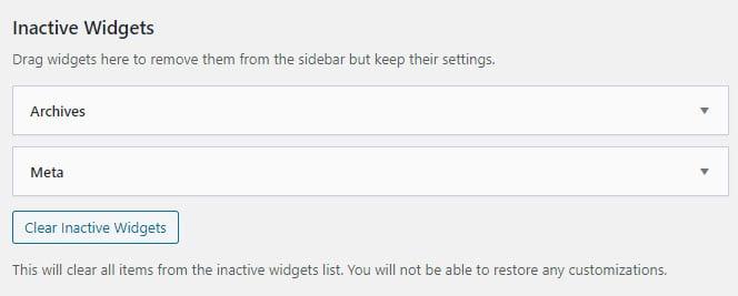 Inactive WordPress blog widgets