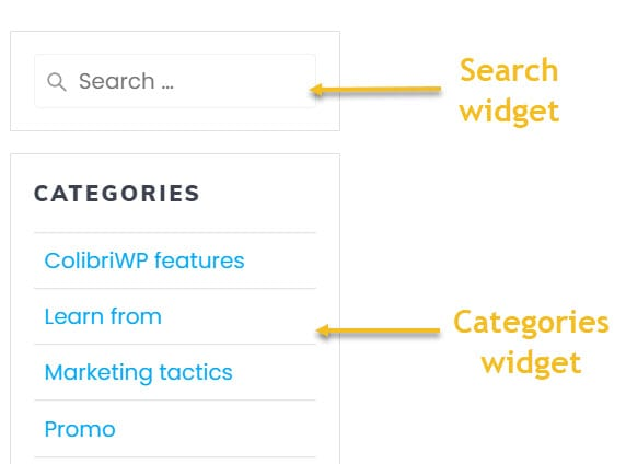 Search and categories widgets