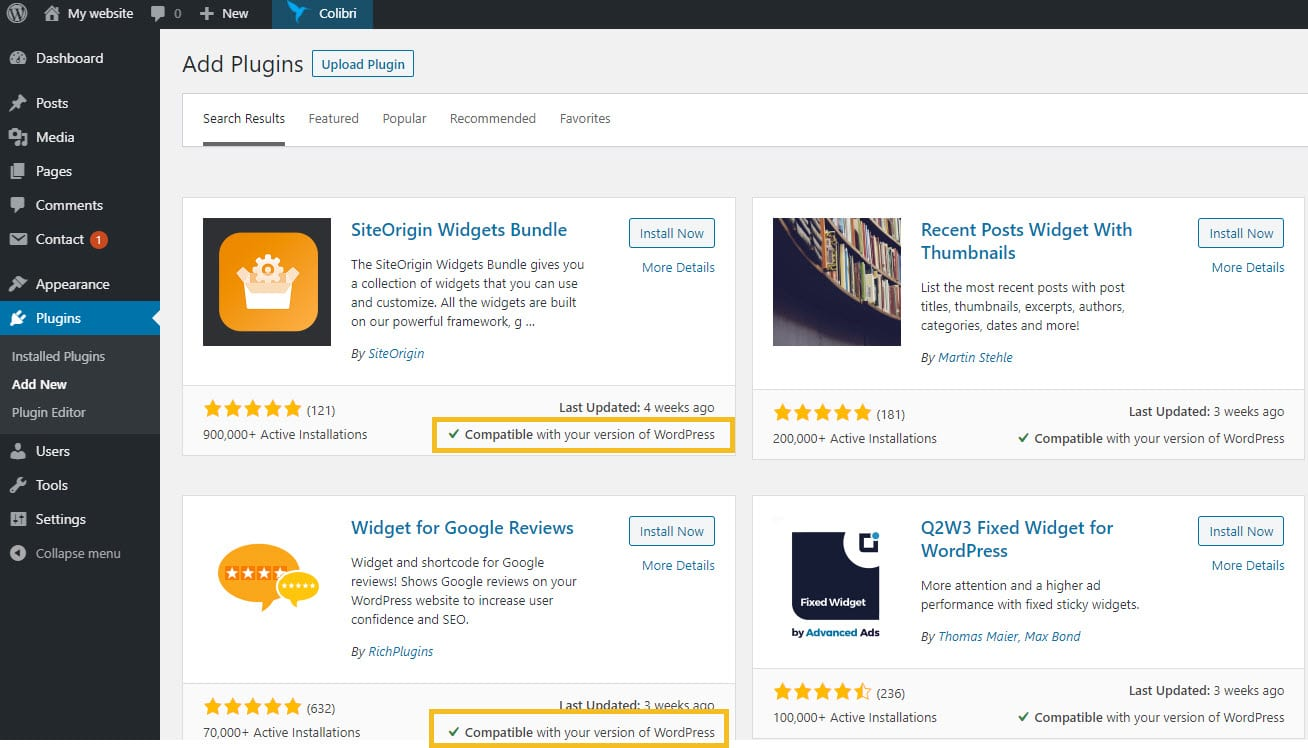 Search for plugins in the WordPress dashboard