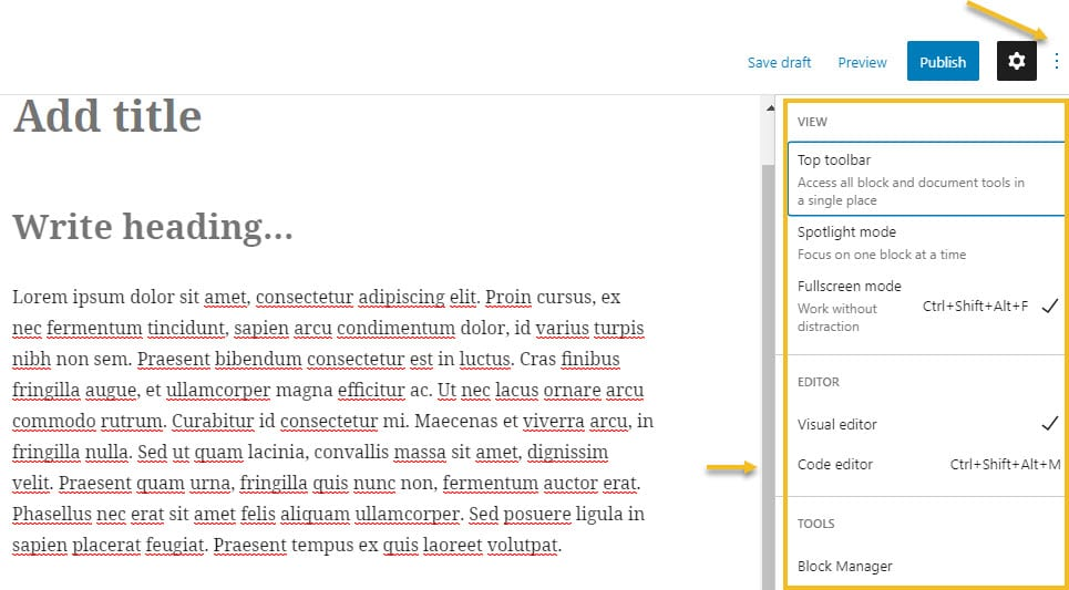 Settings in Gutenberg and HTML editing