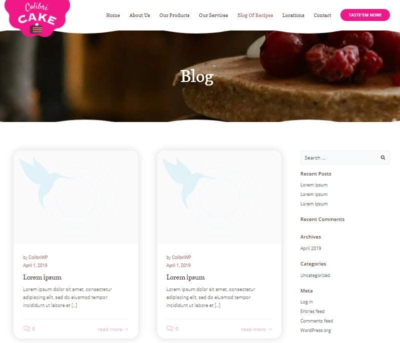 WordPress blog listing page