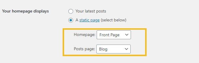 WordPress dashboard blog settings