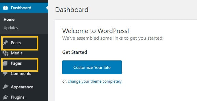 WordPress posts and pages