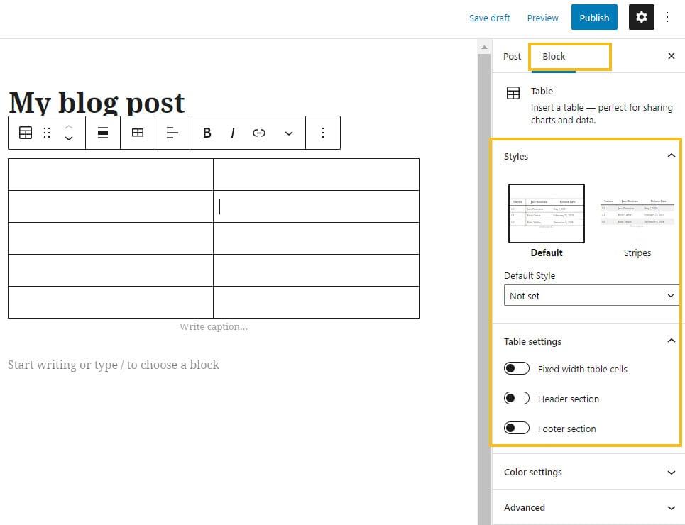 Advanced WordPress table edits