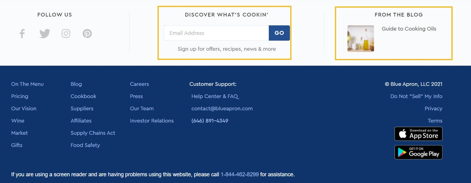 Blue Apron footer
