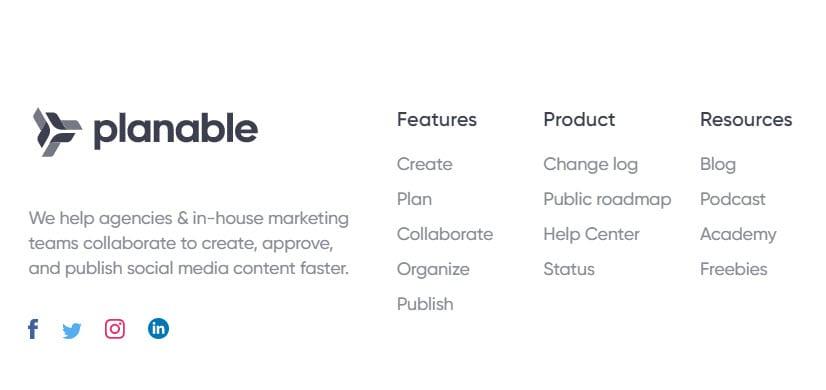 Planable website footer