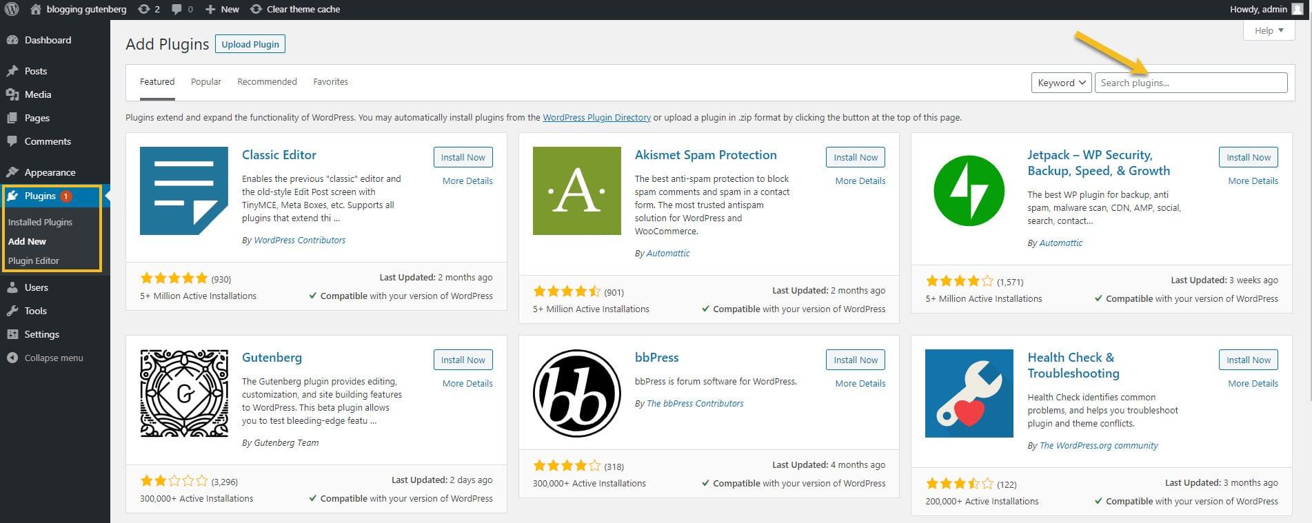 Search a WordPress table plugin