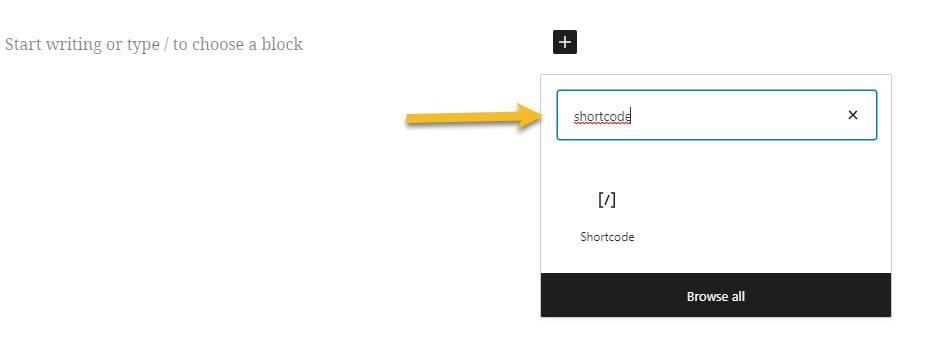 the shortcode WordPress block