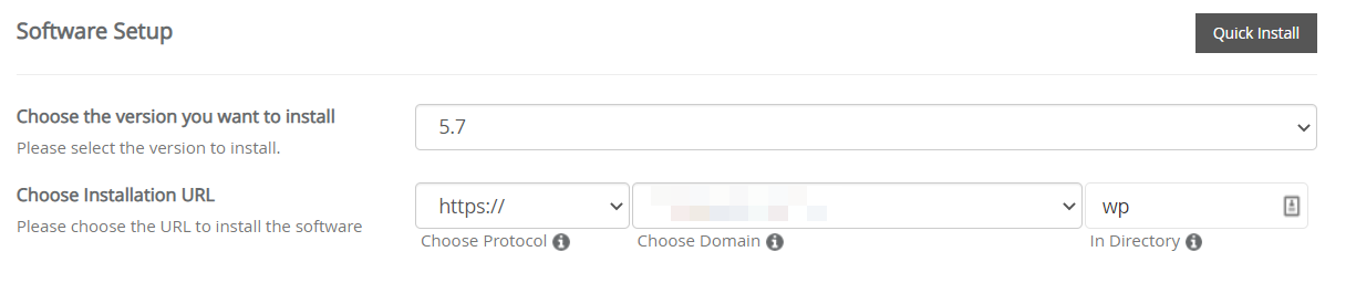 filling up the form to install WordPress