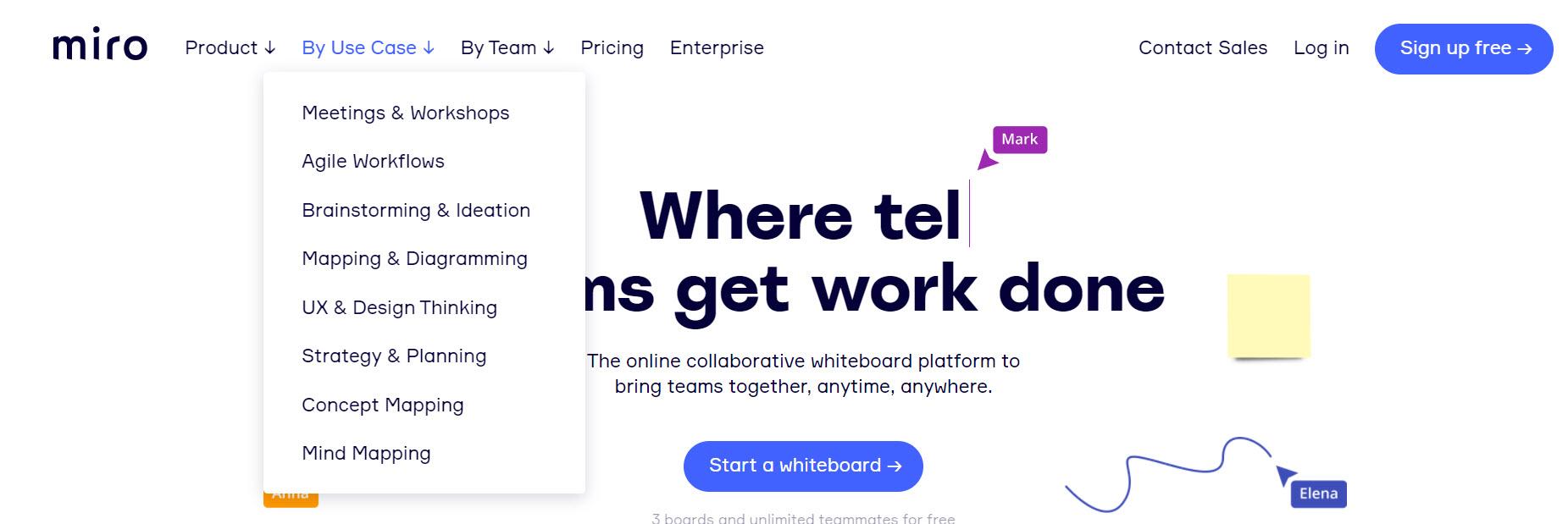 website menu example