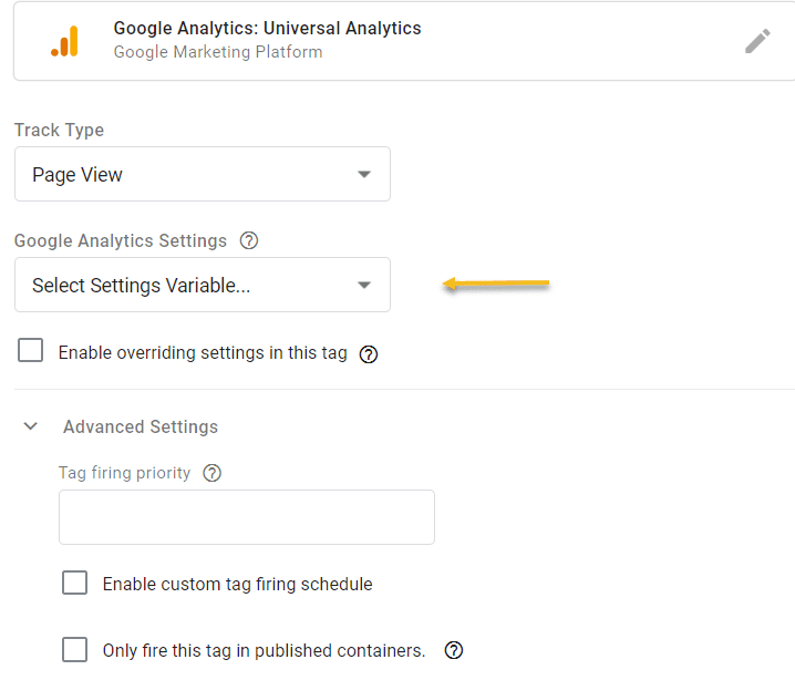 Setting up a variable in GTM