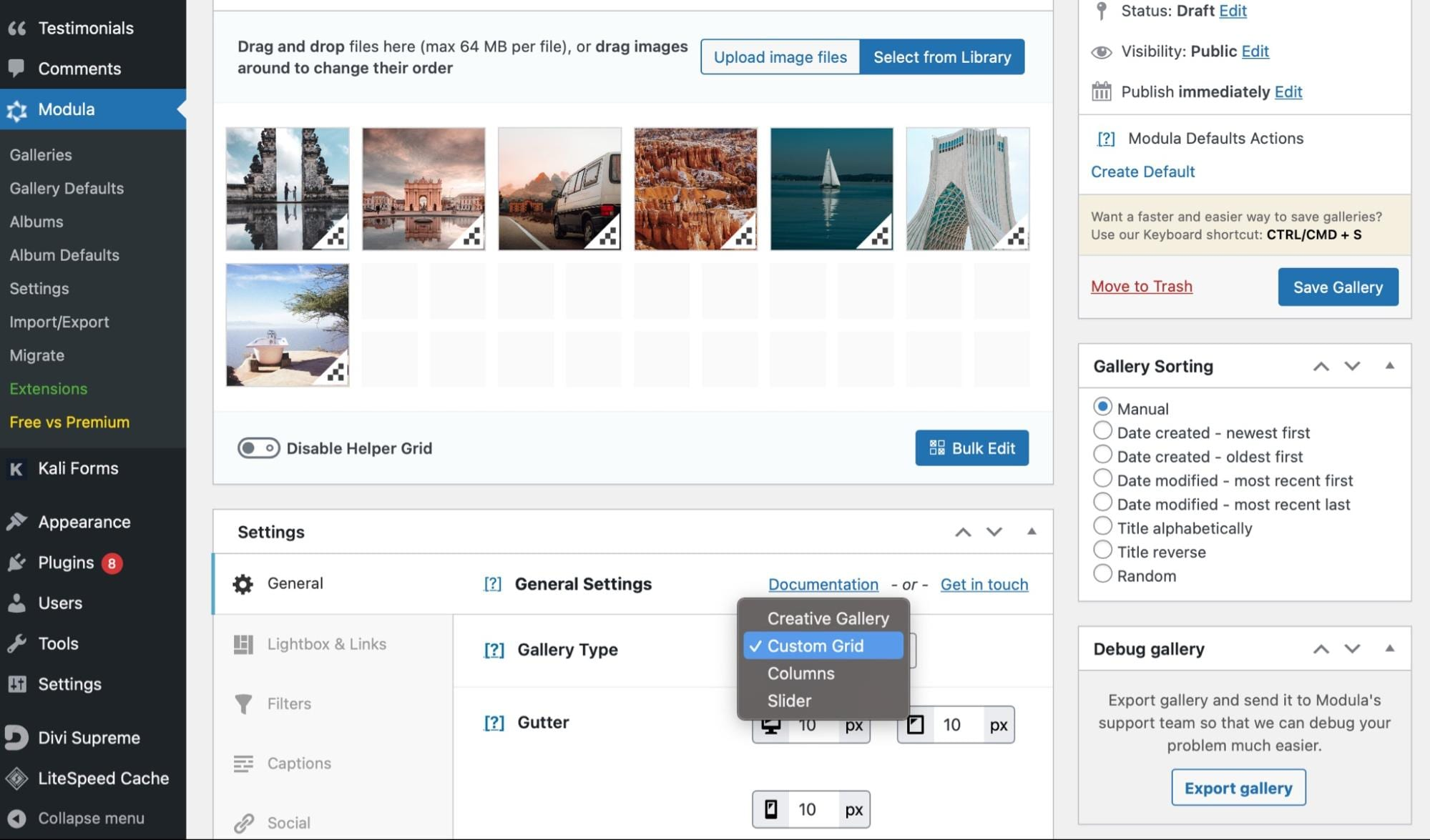 Customize the WordPress gallery