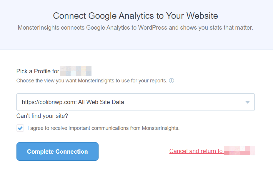 Connect Analytics with monsterInsights