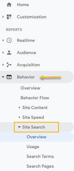 Analytics site search reports