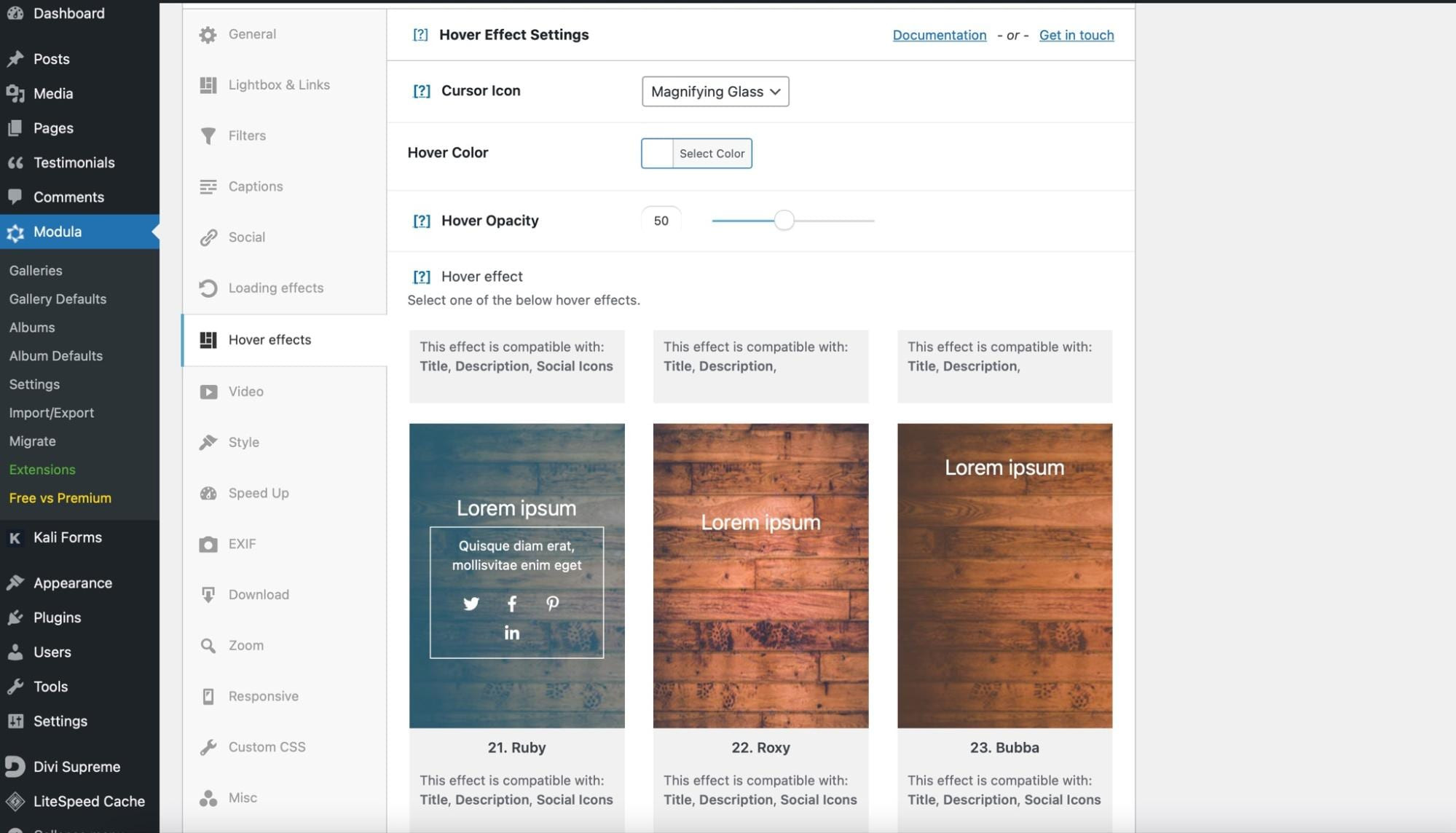 Adding hover effects to the WordPress gallery