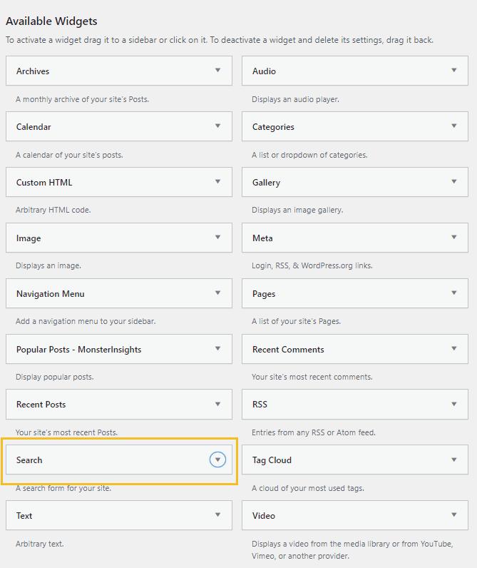 WordPress search widget