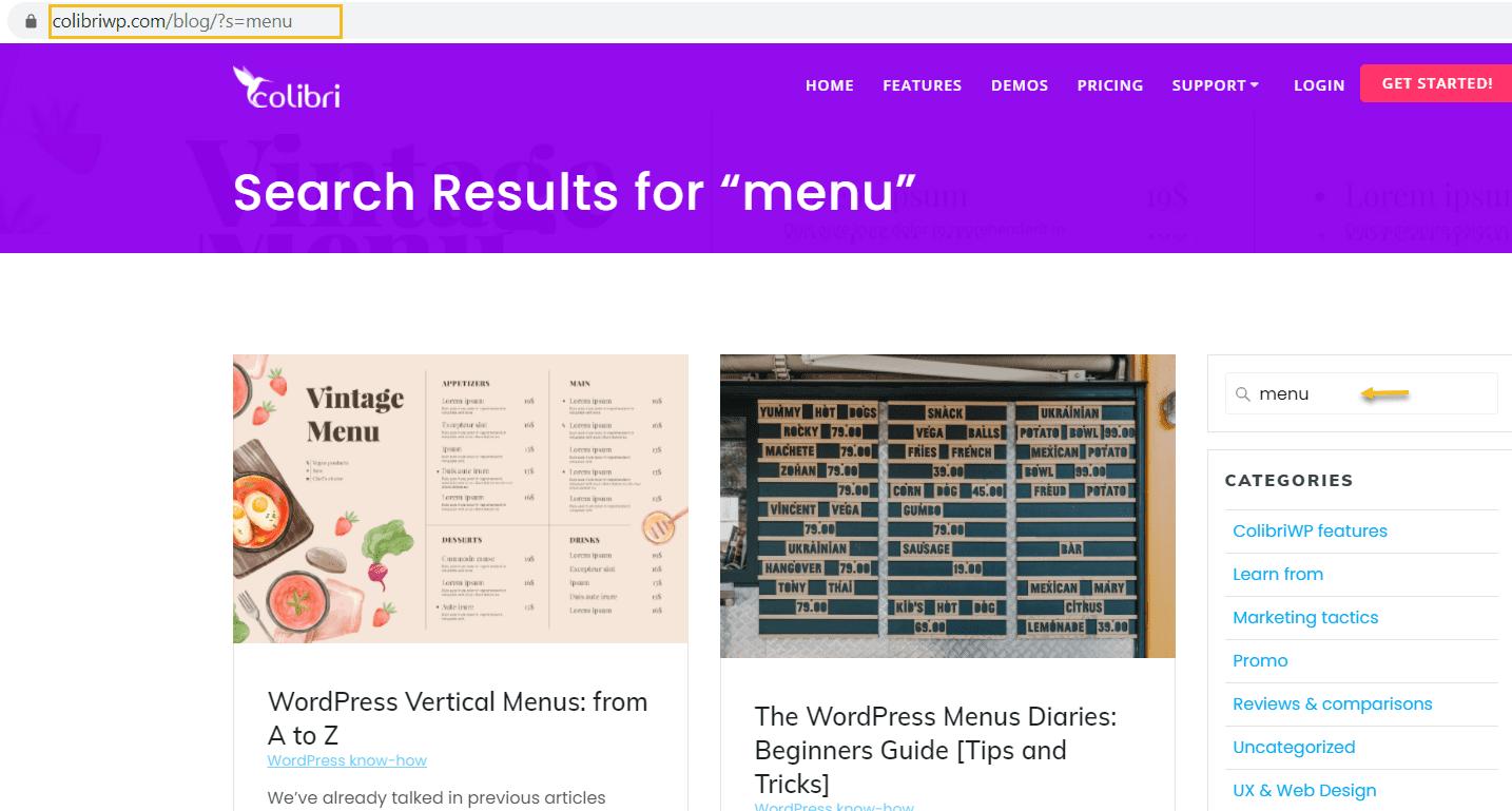 Site search on the Colibri blog