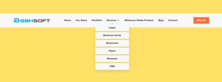 Vertical dropdown menu