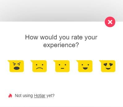 Hotjar survey on the homepage