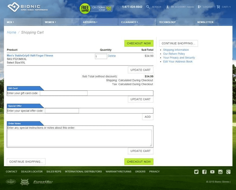 Checkout process example
