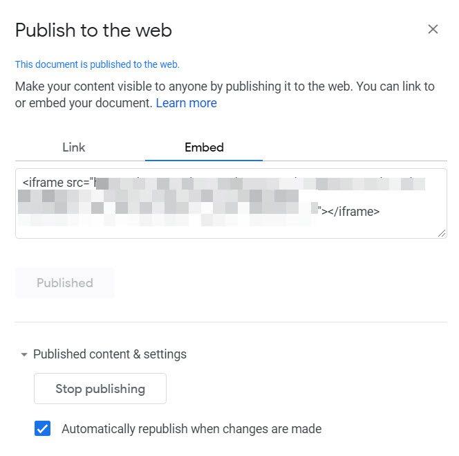 Publish on the web in Google Slides