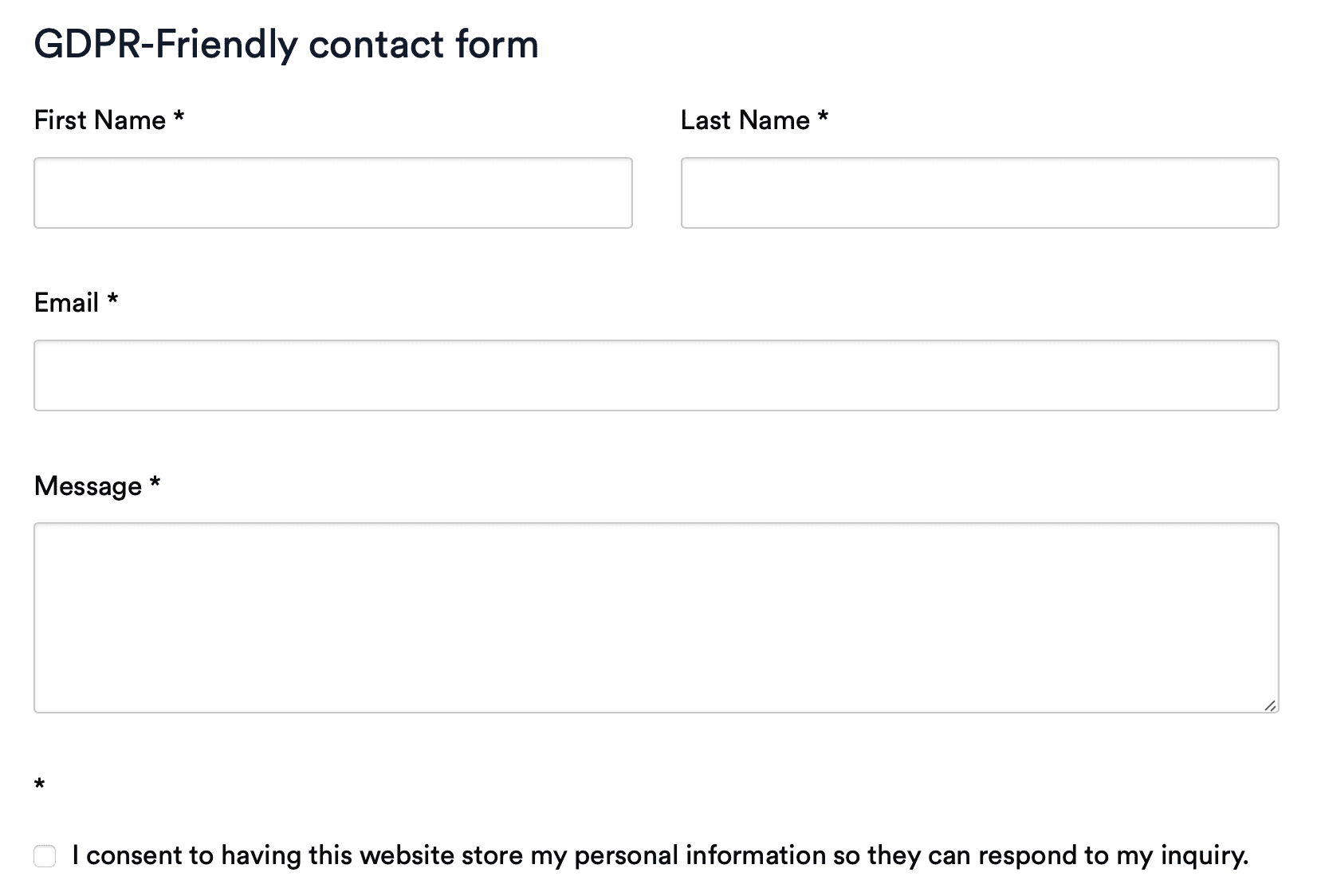 GDPR-friendly contact form