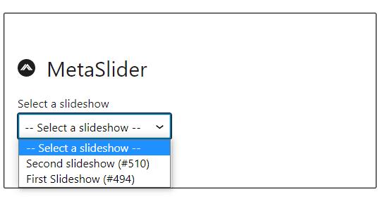 MetaSlider block inside a page or post